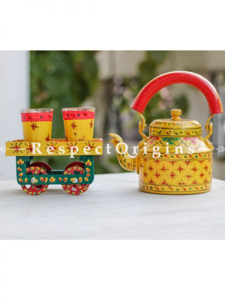 Hand Painted Tea Cart Set; 1 Kettle With 4 Glass 1 Thela Cart; Tea Chai Glass; 100 ml, Kettle ƒ?? 8.5 inch, Thela Cart; 5 X 7 Inches; Yellow; RespectOrigins.com