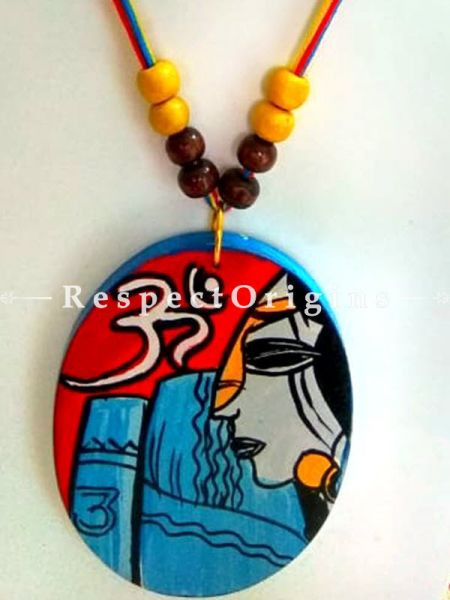 Buy Hand Painted Lady Wooden Jewellery Set With Oval Pendant and Matching Earrings at RespectOrigins.com