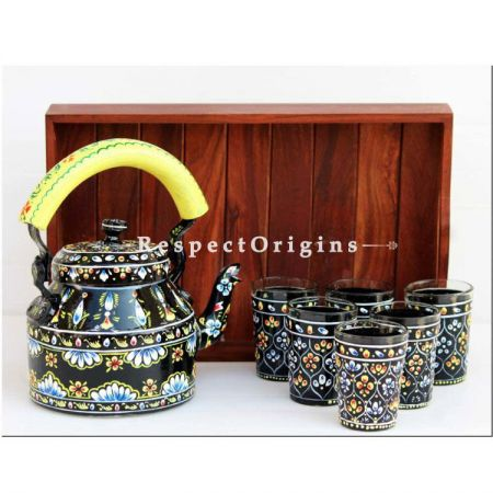 Black Handpainted Aluminium kettle set with Wooden tray; RespectOrigins.com