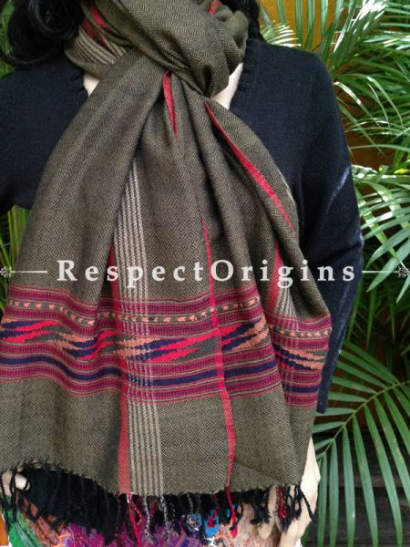 Grey Handwoven FRinged Kullu Handloom Pure Woolen Warm and Soft Traditional Himachal Stole for Girls and Women; RespectOrigins.com