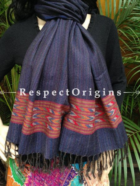 Blue Handwoven Embroidery FRinged Kullu Handloom Pure Woolen Warm and Soft Traditional Himachal Stole for Girls and Women; RespectOrigins.com