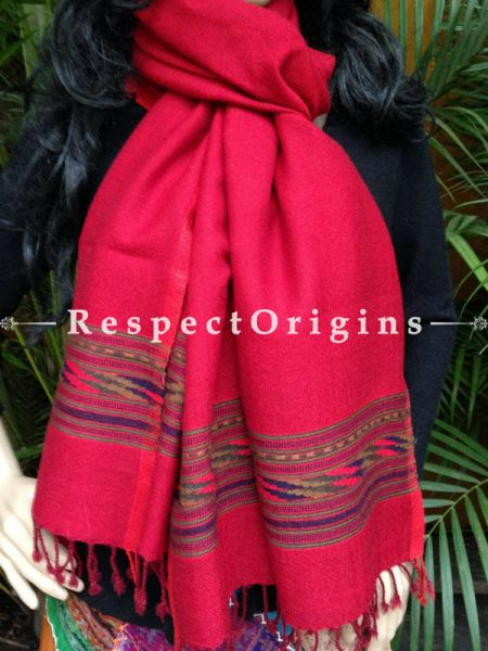 Red Handwoven FRinged Kullu Handloom Pure Woolen Warm and Soft Traditional Himachal Stole for Girls and Women; RespectOrigins.com