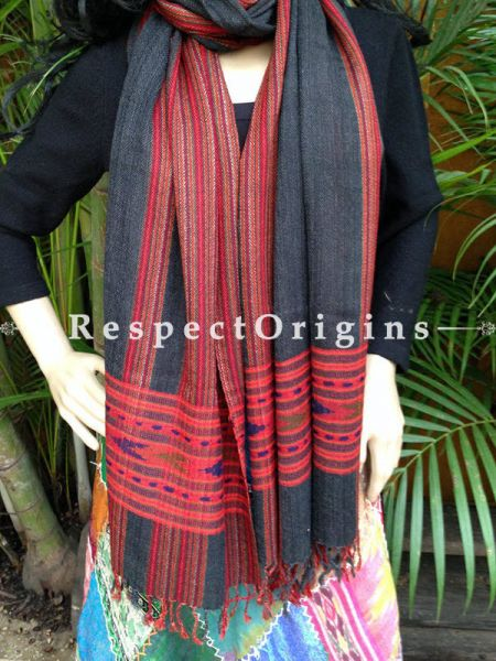 Grey Handwoven Embroidery FRinged Kullu Handloom Pure Woolen Warm and Soft Traditional Himachal Stole for Girls and Women; RespectOrigins.com