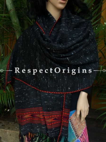 Black Handwoven Embroidery FRinged Kullu Handloom Pure Woolen Traditional Himachal Stole for Girls and Women; Red Border; RespectOrigins.com