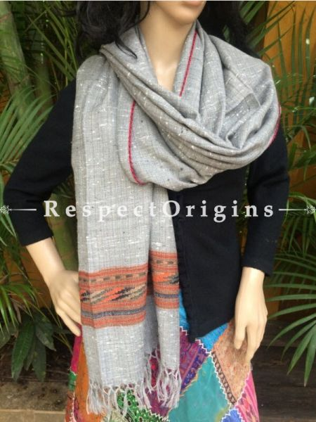Light Grey Handwoven Embroidery FRinged Kullu Handloom Pure Woolen Warm and Soft Traditional Himachal Stole for Girls and Women; RespectOrigins.com