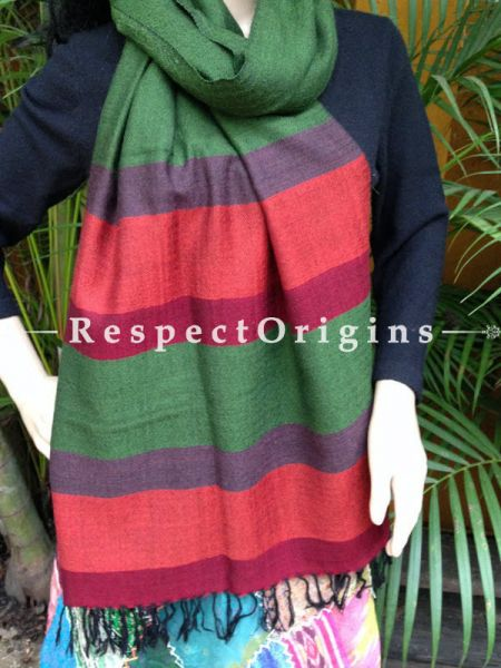 Handwoven Embroidery FRinged Kullu Handloom Pure Woolen Warm and Soft Traditional Himachal Green Stole for Girls and Women; RespectOrigins.com