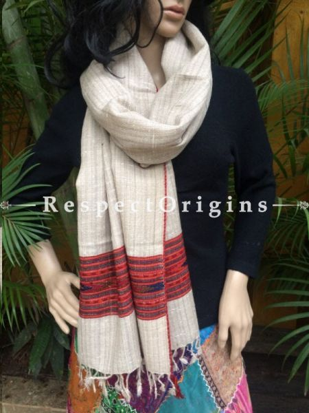 Beige Handwoven FRinged Kullu Hand loom Pure Woolen Warm and Soft Traditional Himachal Stole for Girls and Women; RespectOrigins.com
