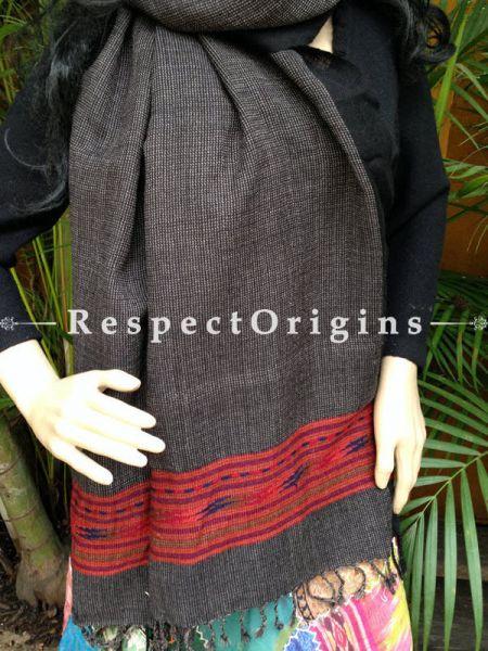 Grey Handwoven Embroidery FRinged Kullu Handloom Pure Woolen Himachal Stole for Girls and Women; Red Border; RespectOrigins.com