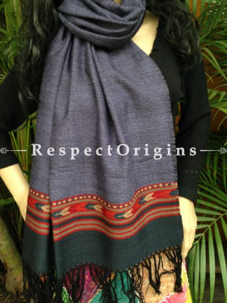 Handwoven Embroidery FRinged Kullu Handloom Pure Woolen Warm and Soft Traditional Himachal Stole for Girls and Women; Grey With Red Border; RespectOrigins.com