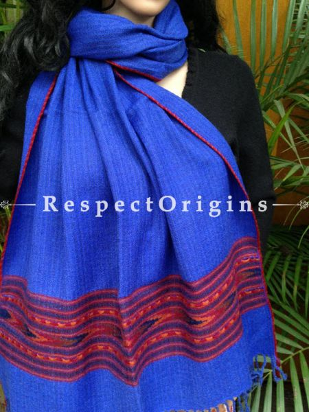 Blue Handwoven Embroidery FRinged Kullu Handloom Pure Woolen Warm and Soft Traditional Himachal Stole for Girls and Women; With Red Borders; RespectOrigins.com