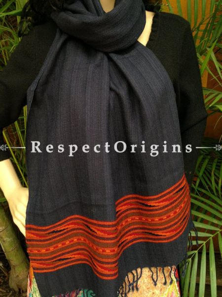 Blue FRinged Kullu Handloom Pure Woolen Warm and Soft Traditional Himachal Stole for Girls and Women; With Red Hand Woven Borders; RespectOrigins.com