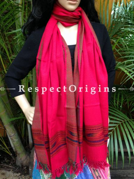 Pink Handwoven Embroidery FRinged Kullu Handloom Pure Woolen Warm and Soft Traditional Himachal Stole for Girls and Women; RespectOrigins.com