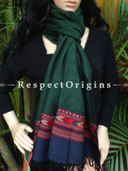 Green Handwoven Embroidery FRinged Kullu Handloom Pure Woolen Warm and Soft Traditional Himachal Stole for Girls and Women; RespectOrigins.com