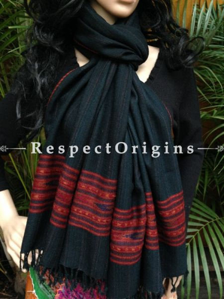 Black Handwoven FRinged Kullu Handloom Pure Woolen Warm and Soft Traditional Himachal Stole for Girls and Women; RespectOrigins.com