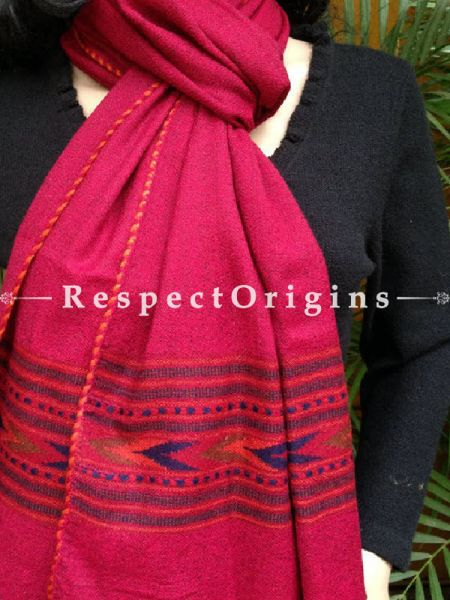 Pink Handwoven FRinged Kullu Handloom Pure Woolen Warm and Soft Traditional Himachal Stole for Girls and Women; RespectOrigins.com