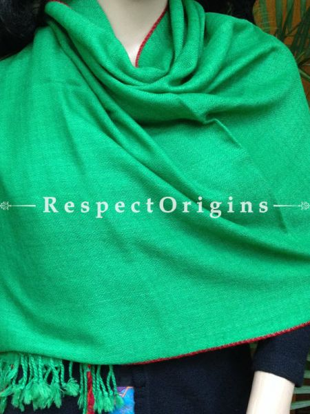 Green Handwoven FRinged Kullu Handloom Pure Woolen Warm and Soft Traditional Himachal Stole for Girls and Women; RespectOrigins.com
