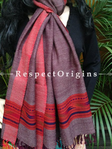 Purple Handwoven FRinged Kullu Handloom Pure Woolen Warm and Soft Traditional Himachal Stole for Girls and Women; RespectOrigins.com