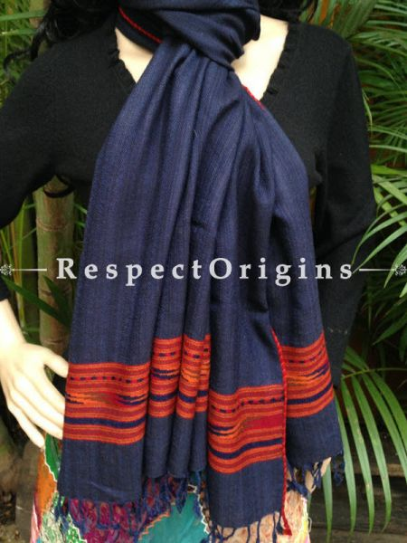 Handwoven FRinged Blue Kullu Handloom Pure Woolen Warm and Soft Traditional Himachal Stole for Girls and Women; RespectOrigins.com