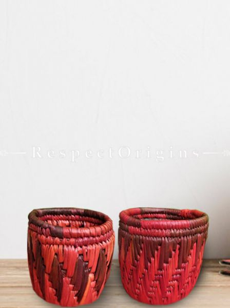 Pair of Handwoven Moonj Grass Pen Stand; Eco-friendly Cylindrical Shape With Warm Red Zig Zag Design; RespectOrigins