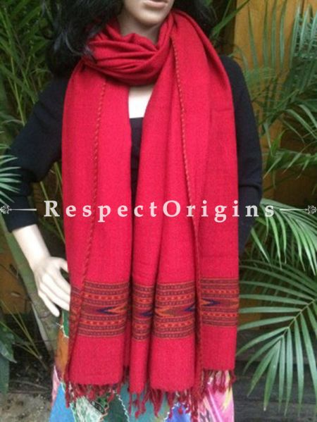 Stunning Red Handwoven Pure Woolen Kullu Shawls From Himachal with Multiple Red Borders; 40x84 In; RespectOrigins.com