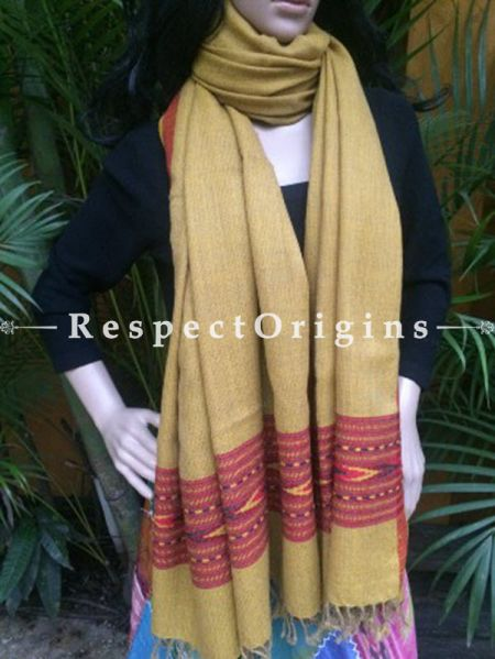 Yellow Handwoven Pure Woolen Kullu Shawls From Himachal with Red Borders; 40x84 In; RespectOrigins.com