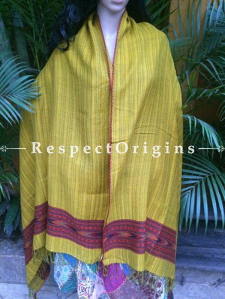 Classic Yellow Handwoven Pure Woolen Kullu Shawls From Himachal with Red Borders; 40x84 In; RespectOrigins.com