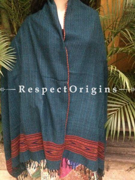 Blue Handwoven Pure Woolen Kullu Shawls From Himachal with Red Borders; 40x84 In; RespectOrigins.com