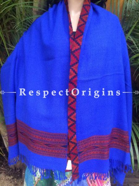 Classic Blue Handwoven Pure Woolen Kullu Shawls From Himachal with Red Borders; 40x84 In; RespectOrigins.com