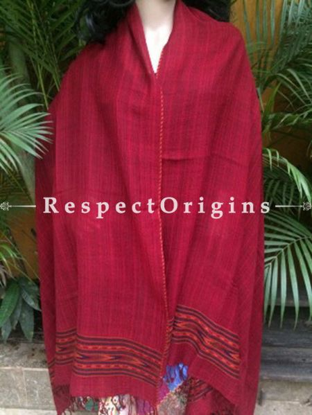 Red Handwoven Kullu Handloom Pure Woolen Warm and Soft Traditional Himachal Shawl for Women; 40x84 In; RespectOrigins.com