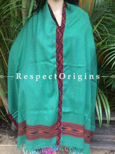 Green Handwoven Kullu Handloom Pure Woolen Warm and Soft Traditional Himachal Shawl for Women; Red and Blue Border; 40x84 In; RespectOrigins.com
