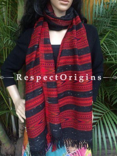 Black Handwoven Pure Woolen Kullu ShawlsFrom Himachal with Multiple Red Borders; 40x84 In; RespectOrigins.com