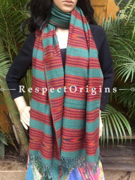 Green Handwoven Pure Woolen Kullu Shawls From Himachal with Multiple Red Borders; 40x84 In; RespectOrigins.com