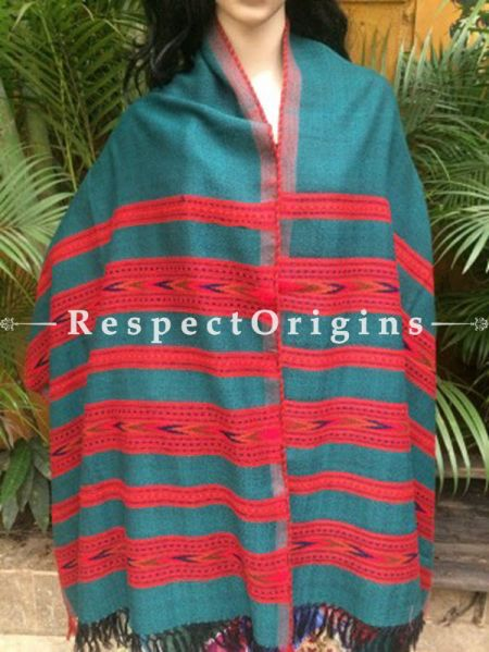 Fabulous Green Handwoven Pure Woolen Kullu Shawls From Himachal with Multiple Red Borders; 40x84 In; RespectOrigins.com