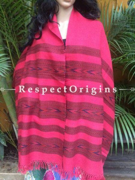 Pink Handwoven Pure Woolen Kullu Shawls From Himachal with Multiple Borders; 40x84 In; RespectOrigins.com