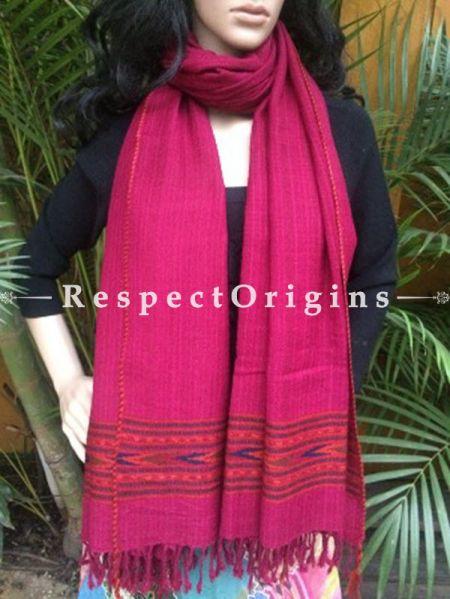Pink Handwoven Pure Woolen Kullu Shawls From Himachal with Red Borders; 40x84 In; RespectOrigins.com