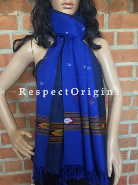 Handwoven FRinged Kullu Handloom Pure Woolen Warm and Soft Traditional Himachal Blue Stole for Girls and Women; RespectOrigins.com