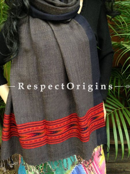 FRinged Kullu Handloom Pure Woolen Warm and Soft Traditional Himachal Stole for Girls and Women; Grey With Red Hand Woven Borders; RespectOrigins.com