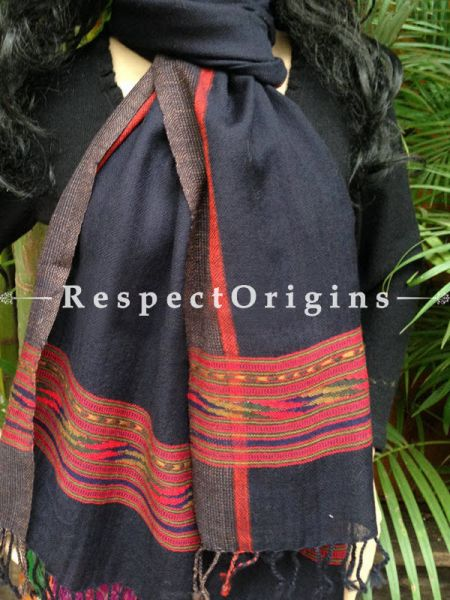 Handwoven FRinged Kullu Handloom Pure Woolen Warm and Soft Traditional Himachal Black Stole for Girls and Women; RespectOrigins.com
