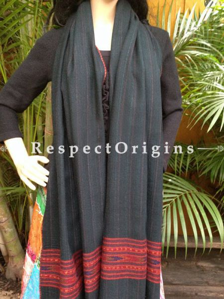 Black Handwoven Embroidery FRinged Kullu Handloom Pure Woolen Warm and Soft Traditional Himachal Stole for Girls and Women; RespectOrigins.com
