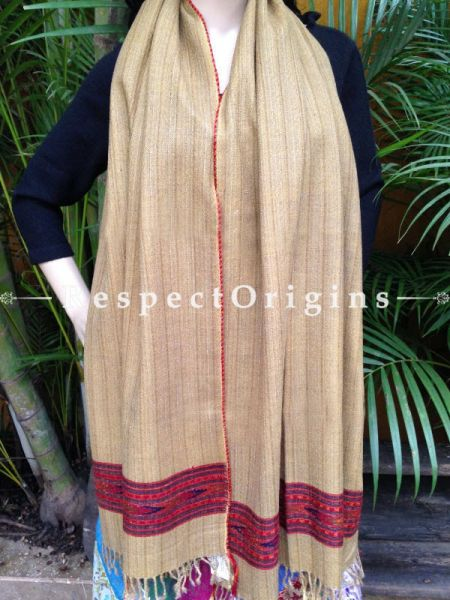 Beige Handwoven FRinged Kullu Handloom Pure Woolen Warm and Soft Traditional Himachal Stole for Girls and Women; RespectOrigins.com