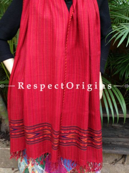 Handwoven FRinged Kullu Handloom Pure Woolen Warm and Soft Traditional Himachal Red Stole for Girls and Women; RespectOrigins.com