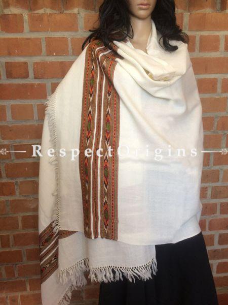 HandWoven Kullu White Stole Woolen; RespectOrigins.com
