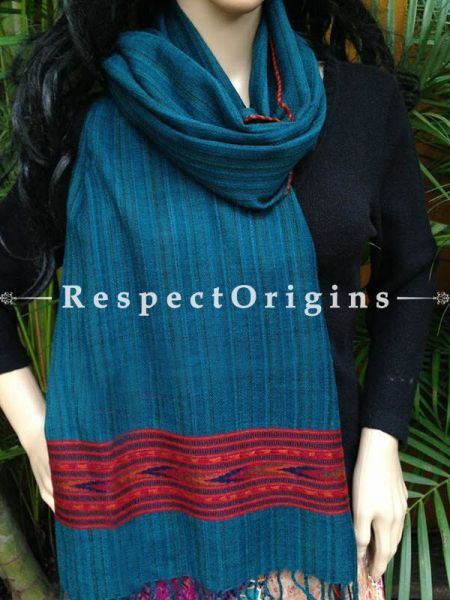 Blue Handwoven FRinged Kullu Handloom Pure Woolen Warm and Soft Traditional Himachal Stole for Girls and Women; RespectOrigins.com