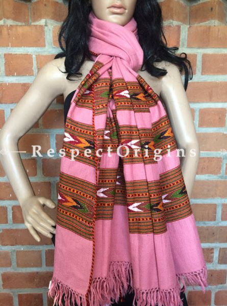 Pink HandWoven Kullu Stole; 3 layers; Woolen; RespectOrigins.com