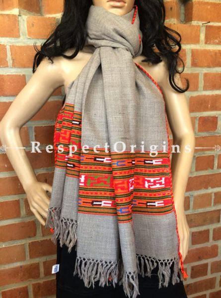 Stylish Grey Handwoven Kullu Stole; Wool; RespectOrigins.com