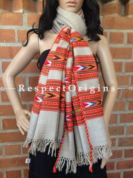 Grey Woolen Kullu Stole Handwoven; RespectOrigins.com