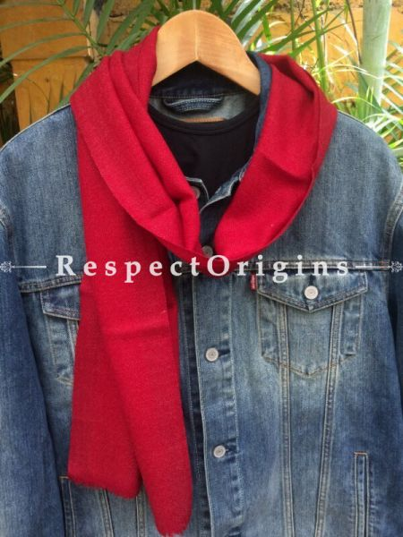 Men's Kullu Muffler; Hand Loomed Pure Wool in Red