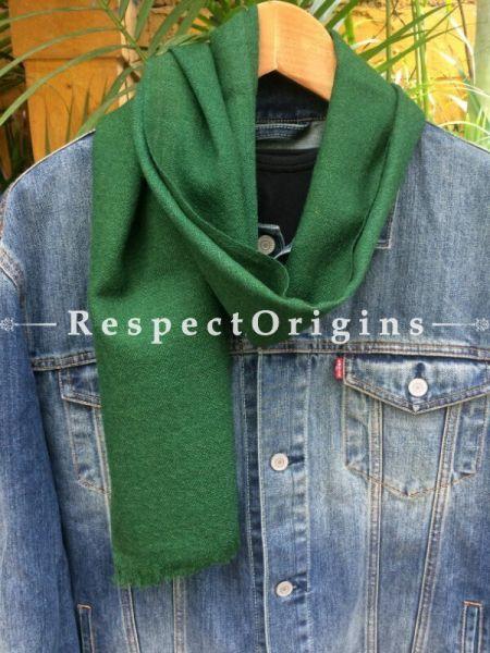 Men's Kullu Muffler; Hand Loomed Pure Wool in Green