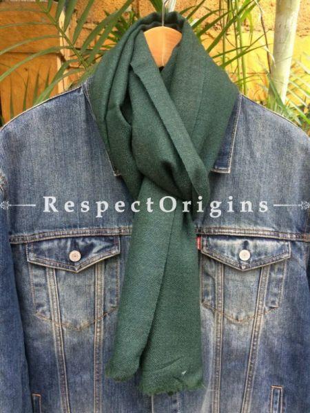 Men's Kullu Muffler; Green Hand Loomed Pure Wool