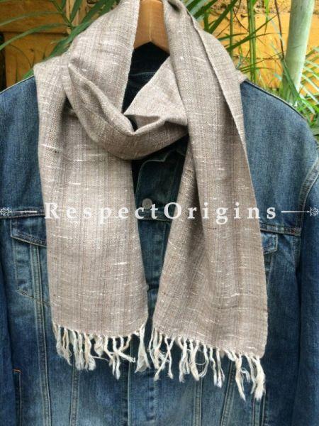 Men's Kullu Muffler; Hand Loomed Pure Wool in Beige